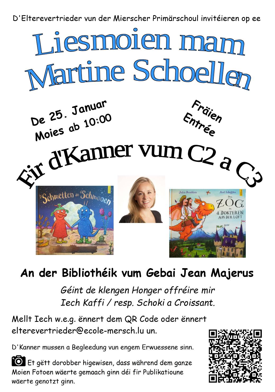Liesmoien mam Martine Schoellen fir d'Kanner vum Cycle 2 a Cycle 3 25. Januar 2020 Moies 10.00 Auer Bibliothéik Jean Majerus