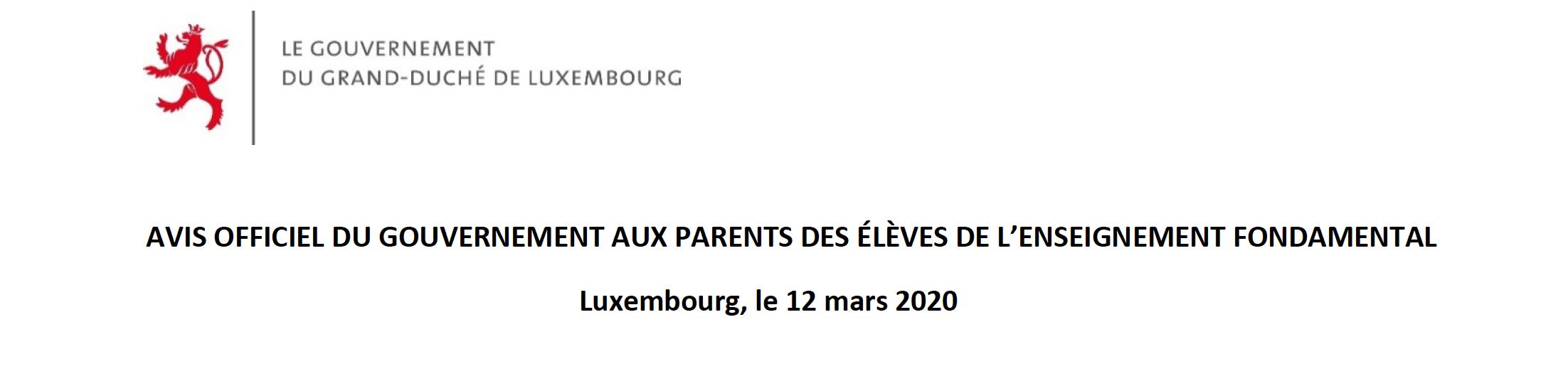 AVIS OFFICIEL DU GOUVERNEMENT AUX PARENTS DES ÉLÈVES DE L'ENSEIGNEMENT FONDAMENTAL